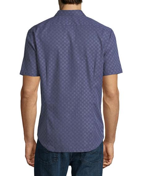 Graph Gingham Short-Sleeve Cotton Shirt