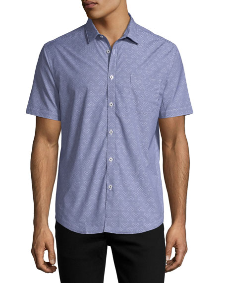 Chevron Gingham Short-Sleeve Cotton Shirt