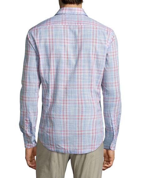 Malibu Plaid Cotton Shirt, Red