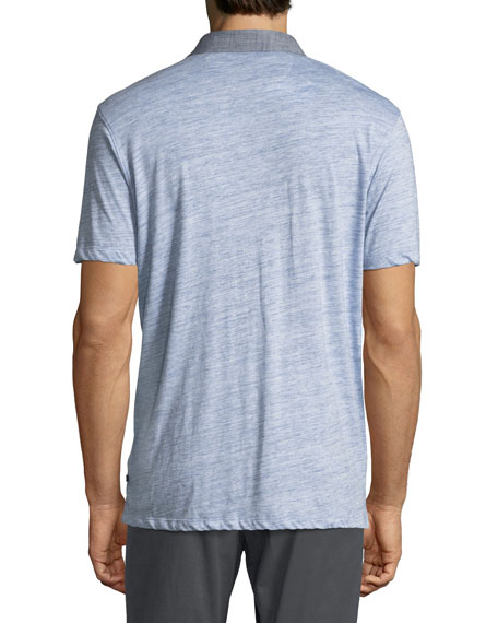 Heathered Cotton Jersey Polo Shirt