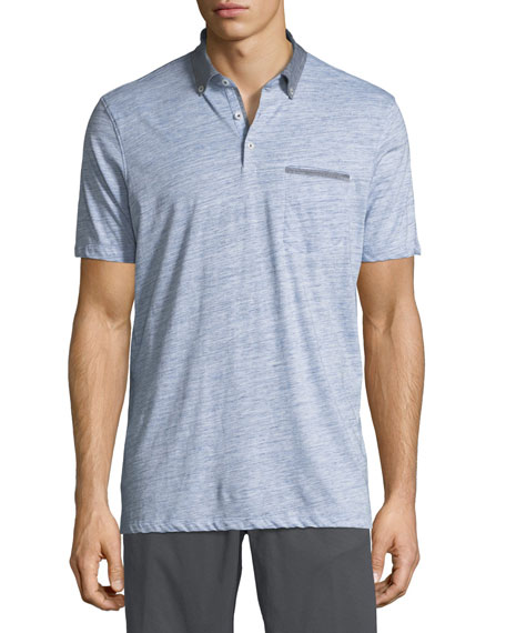 The Good Man Brand Heathered Cotton Jersey Polo