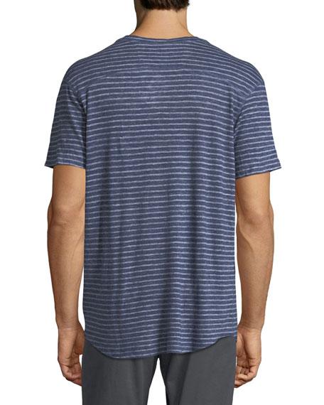 Striped Slub Jersey Short-Sleeve Henley T-Shirt