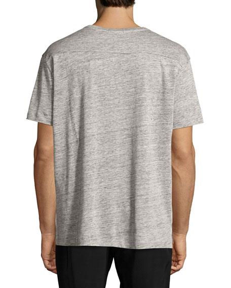 Linen Relaxed-Fit Crewneck T-Shirt, Light Gray