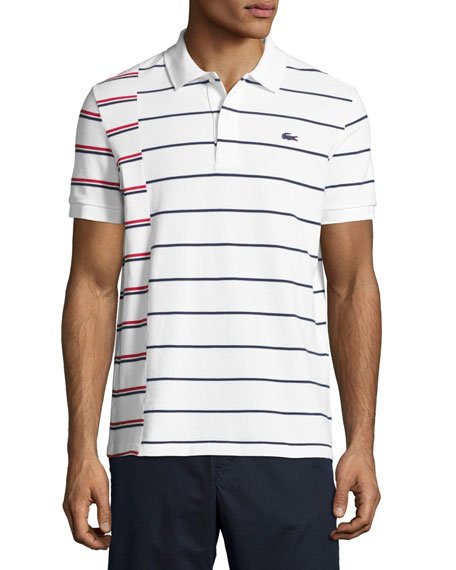 Lacoste Irregular-Stripe Polo Shirt, White