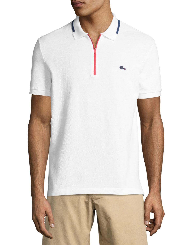 Lacoste Quarter Zip Polo Shirt Whitered Neiman Marcus