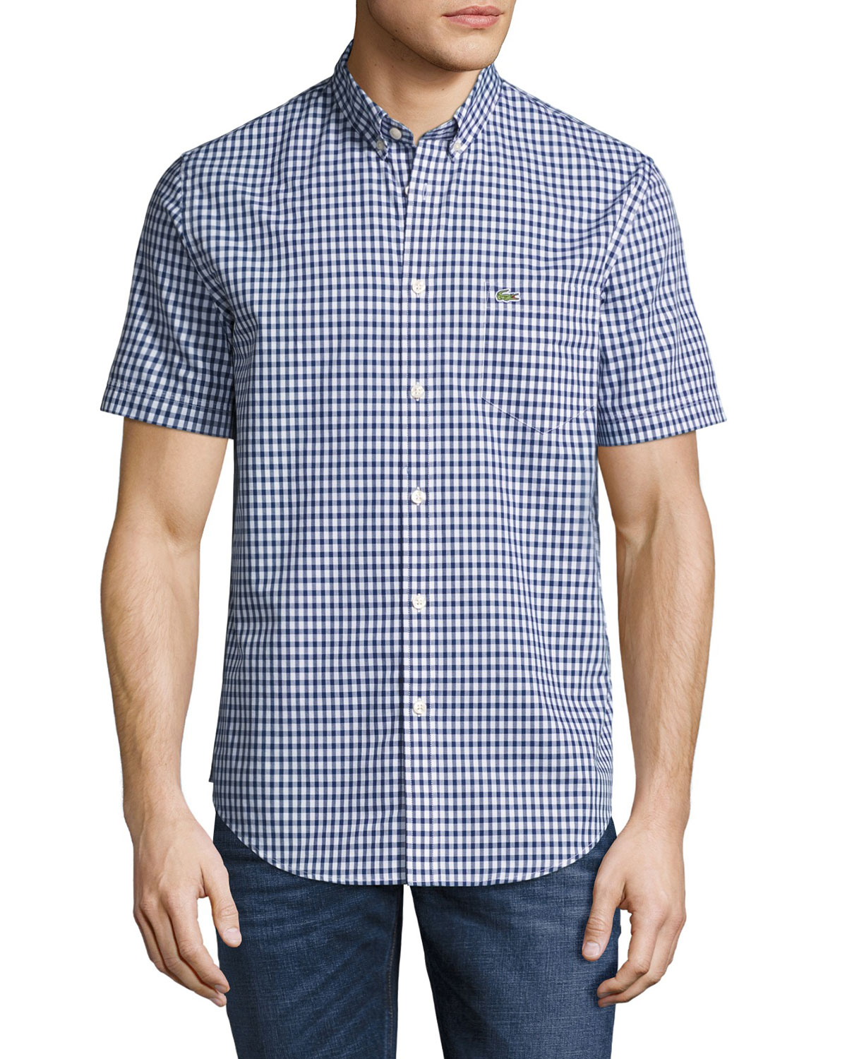 a2c186eed lacoste Short-Sleeve Gingham Shirt