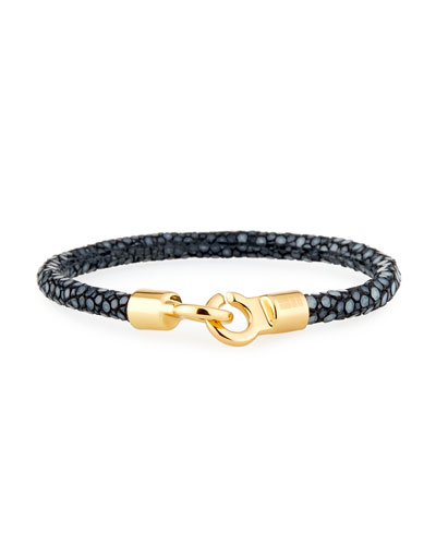 Men's Stingray Shagreen Bracelet  Black/Golden
