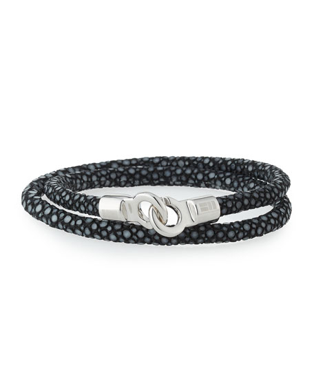 Brace Humanity Men's Stingray Wrap Bracelet, Black/Silver