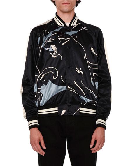 Valentino Panther Souvenir Satin Bomber Jacket, Gray