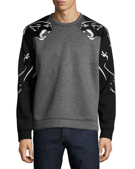 Two-Tone Panther Sweatshirt, Gray