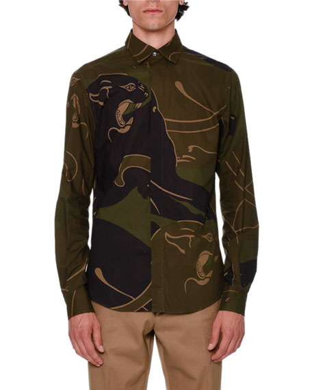 Valentino Camo Panther Button-Front Shirt, Khaki