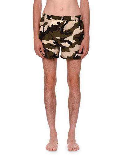 Camouflage Short Swim Trunks, Green/Black/White