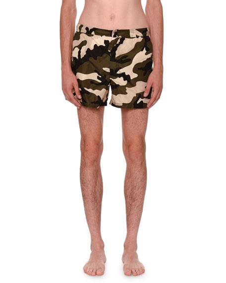 Valentino Camouflage Short Swim Trunks, Green/Black/White