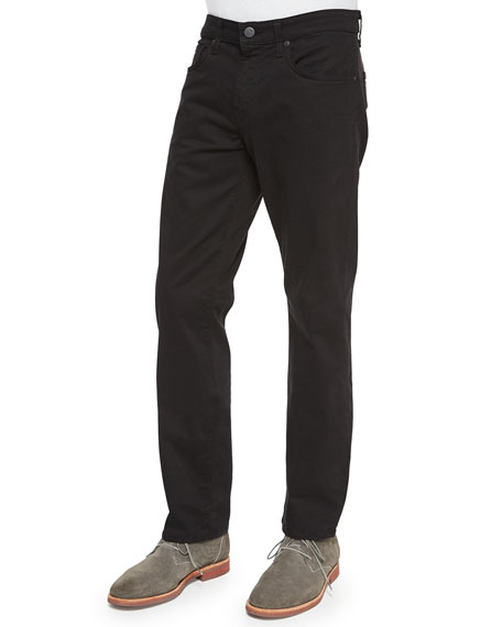 J Brand Kane Straight-Leg Twill Pants, Charcoal