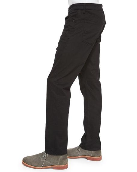 Kane Straight-Leg Twill Pants, Charcoal
