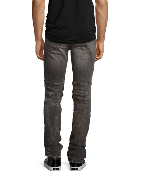 Rocco Simple Moto Skinny Jeans, Gray