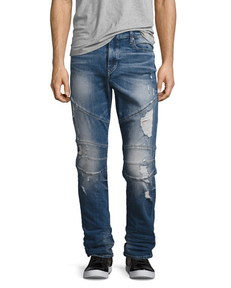 True Religion Geno Simple Moto Slim-Straight Jeans, Blue