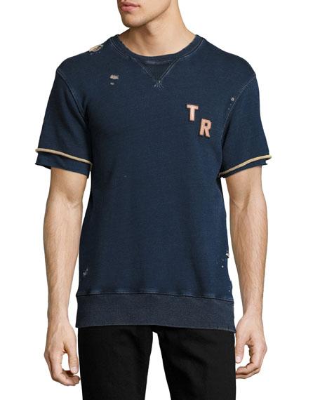 Distressed Short-Sleeve Logo Sweatshirt, Indigo Blue