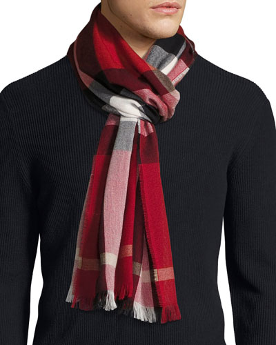 burberry scarf outlet sols  Check Cashmere-Wool Scarf, Red