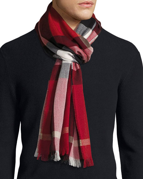 Burberry Check Cashmere-Wool Scarf, Red