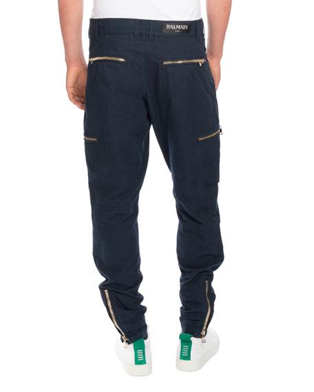 Cargo Pants with Golden Zippers, Navy