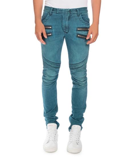 Balmain Skinny Denim Biker Jeans, Turquoise
