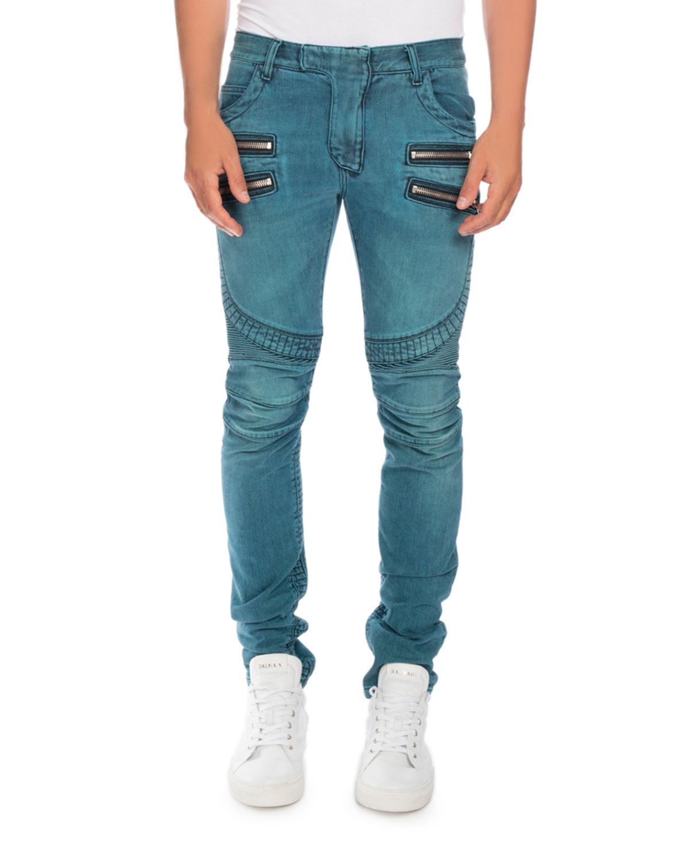 4f81c41e93baf3 Balmain Skinny Denim Biker Jeans, Turquoise | Neiman Marcus