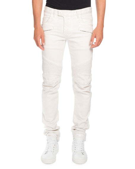 Balmain Skinny Stretch-Denim Biker Jeans, White