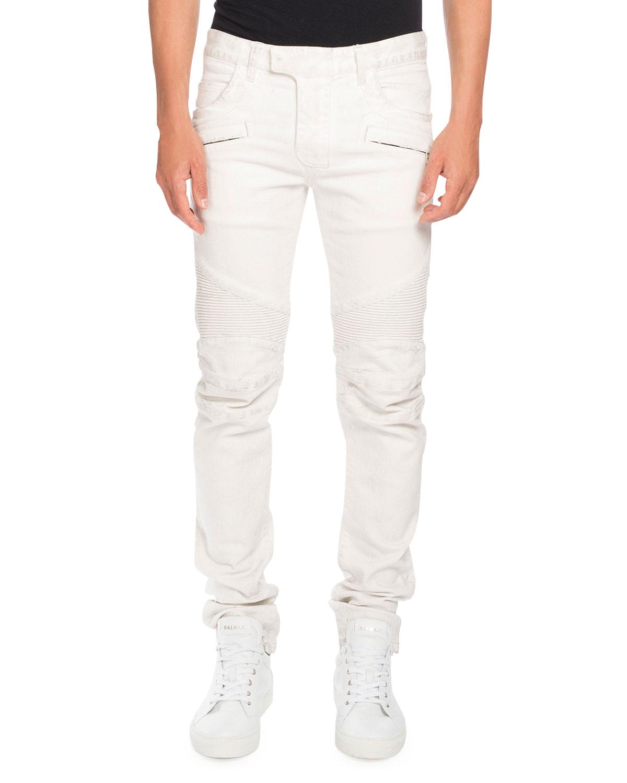 ba4658308def84 Balmain Skinny Stretch-Denim Biker Jeans, White | Neiman Marcus