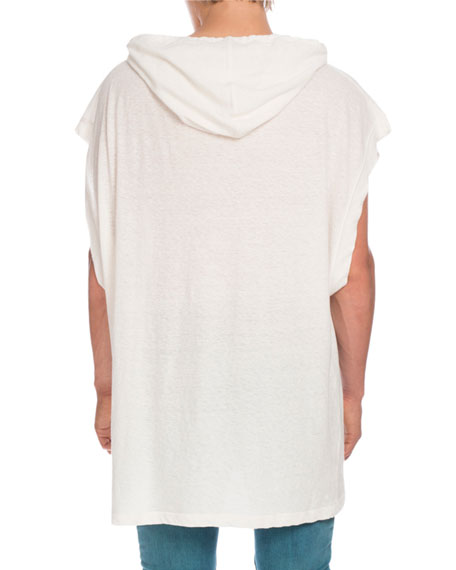 Oversized Linen Muscle Hoodie, White