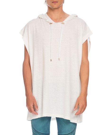 Balmain Oversized Linen Muscle Hoodie, White