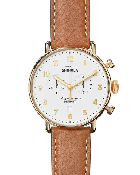 Shinola Men's 43mm Canfield Chronograph Watch, White/Tan