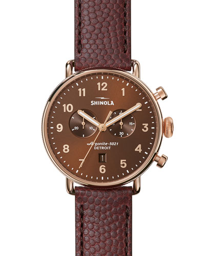 43mm Canfield Chronograph Watch, Bourbon/Oxblood