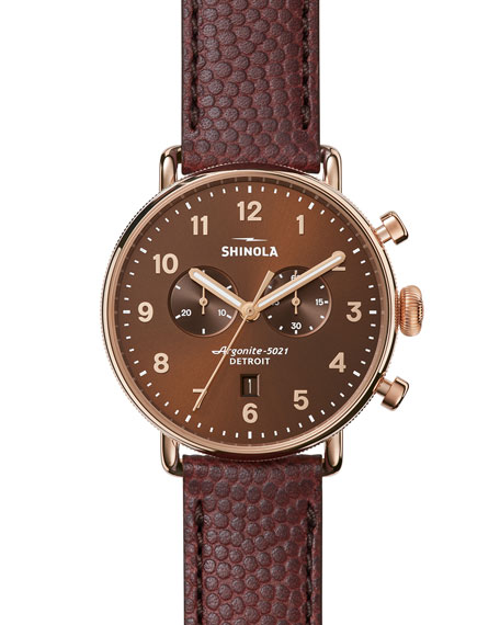 Shinola 43mm Canfield Chronograph Watch, Bourbon/Oxblood
