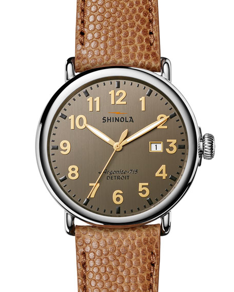 Shinola 47mm Runwell Men's Watch, Dark Gray/Camel