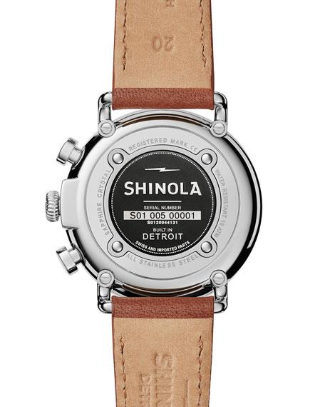 41mm Runwell Chronograph Watch, Midnight Blue/Tan