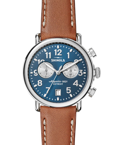 41mm Runwell Chronograph Watch, Midnight Blue/Tan