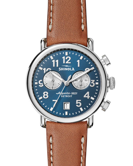 Runwell Stainless Steel & Leather Strap Chronograph Watch, Tan/ Midnight Blue