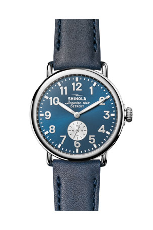 Shinola Men's 41mm Runwell Watch, Midnight Blue/Ocean