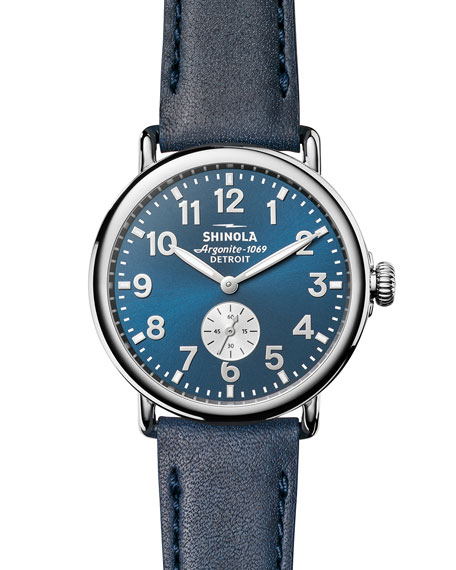 Shinola 41mm Runwell Watch, Midnight Blue/Ocean