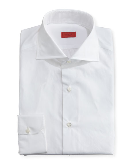 Isaia Slim Solid Dress Shirt, White