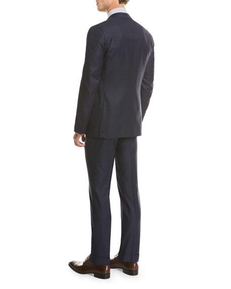 Sanita Tonal Windowpane Super 160s Wool Two-Piece Suit, Navy