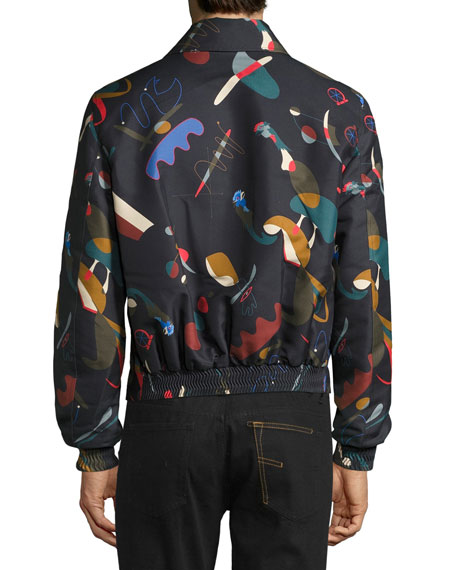 Abstract Print Runway Blouson Jacket, Navy