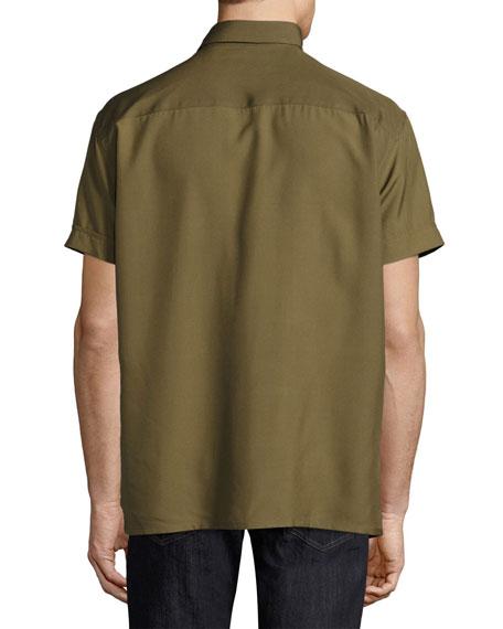 Short-Sleeve Silk Shirt, Military Green