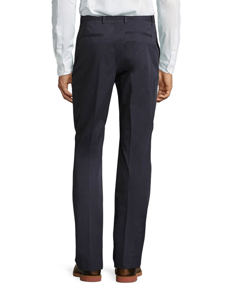 Cotton Flat-Front Trousers, Navy