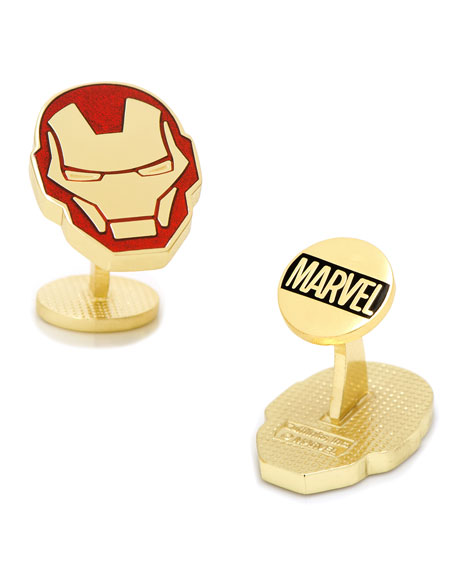 Iron Man Helmut Cuff Links, Red/Yellow