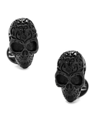 3D Fatale Skull Cuff Links, Black