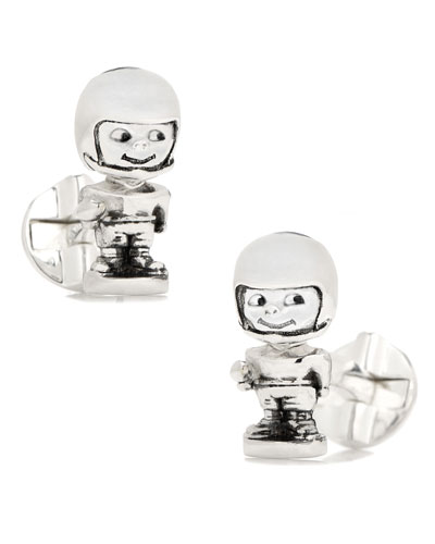 Football Bobblehead Sterling Silver Cuff Links