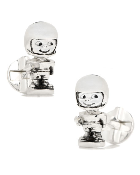 Cufflinks Inc. Football Bobblehead Sterling Silver Cuff Links