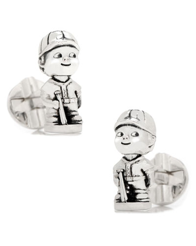 Baseball Bobblehead Sterling Silver Cuff Links
